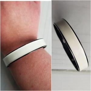 Thorson Hosier White And Silver Bangle Bracelet